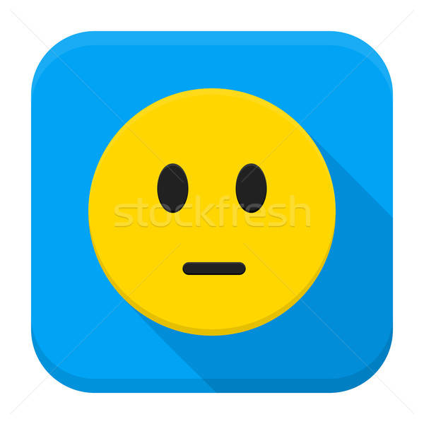 Pensive Yellow Smiley Face App Icon Stock photo © Anna_leni