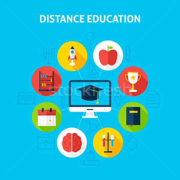 Afstand onderwijs web infographics cirkel Stockfoto © Anna_leni