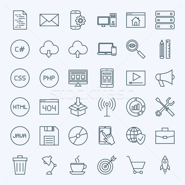 Line Coding Icons Stock photo © Anna_leni