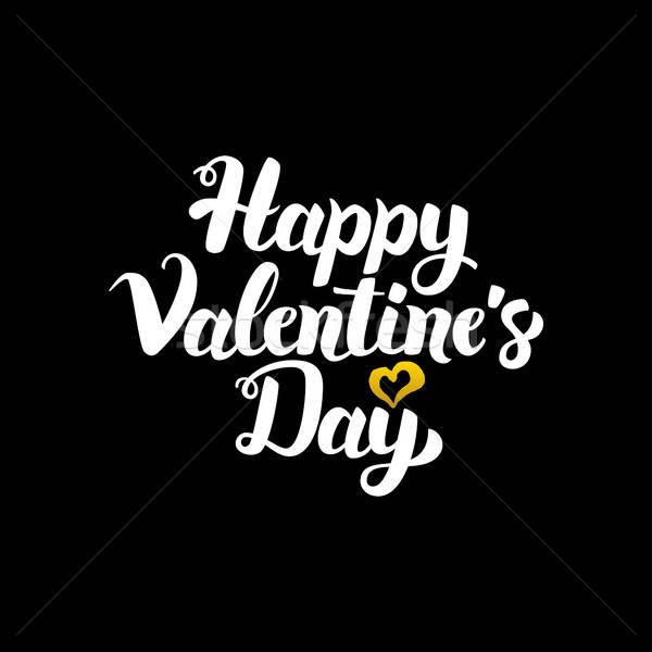 Boldog Valentin nap nap kézzel írott kalligráfia szeretet Stock fotó © Anna_leni