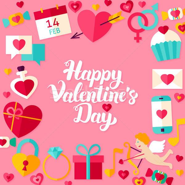 Happy Valentine Day Lettering Postcard Stock photo © Anna_leni