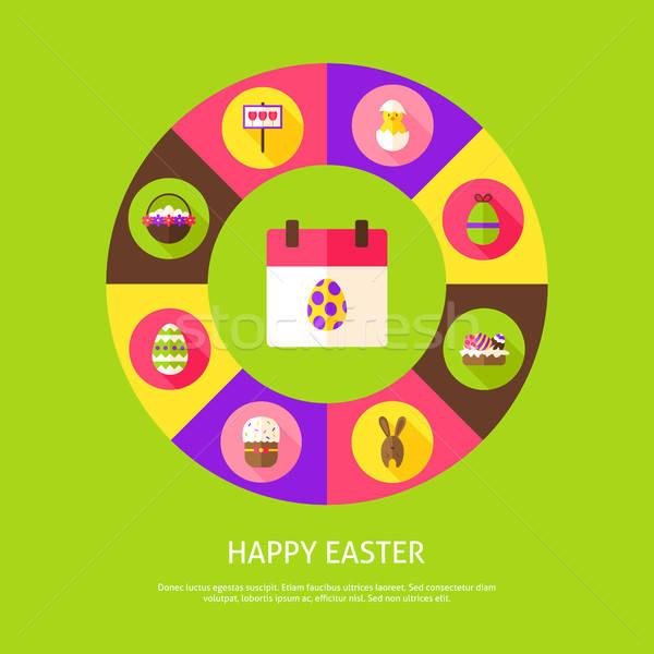 Buona pasqua primavera vacanze infografica cerchio icone Foto d'archivio © Anna_leni