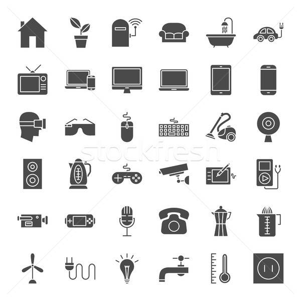 Household Appliance Solid Web Icons Stock photo © Anna_leni