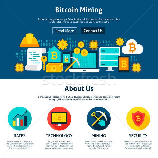 Bitcoin mineração design do site estilo teia bandeira Foto stock © Anna_leni