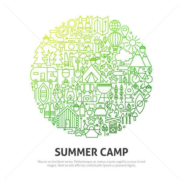 Yaz kampı daire dizayn gıda doğa Stok fotoğraf © Anna_leni