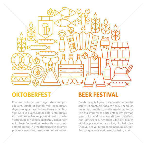 Oktoberfest lijn sjabloon schets ontwerp partij Stockfoto © Anna_leni