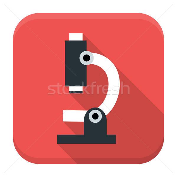 Microscope app icône longtemps ombre stylisé Photo stock © Anna_leni