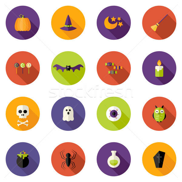 Halloween színes kör ikon szett illusztráció buli Stock fotó © Anna_leni