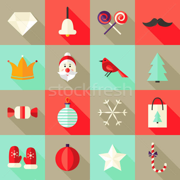 Stock photo: Christmas Square Flat Icons Set 1 Red and Mint