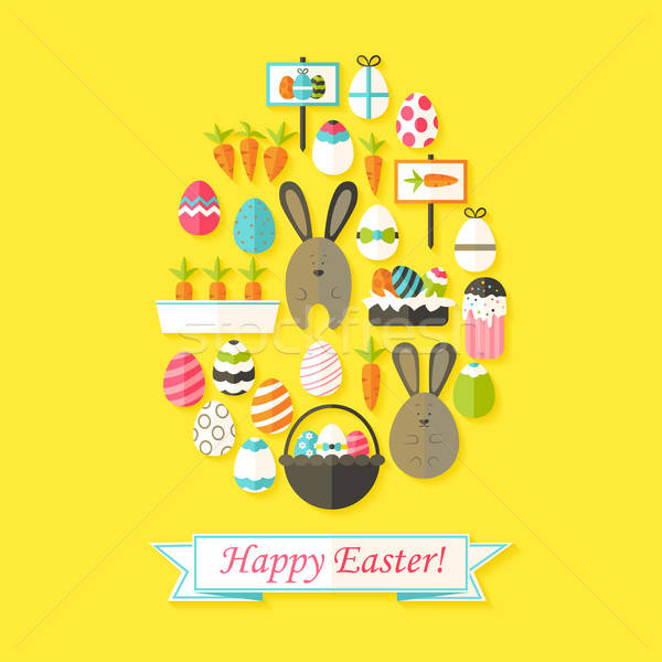 Easter Holiday Greeting Card with Flat Icons Set Egg shaped Stock photo © Anna_leni