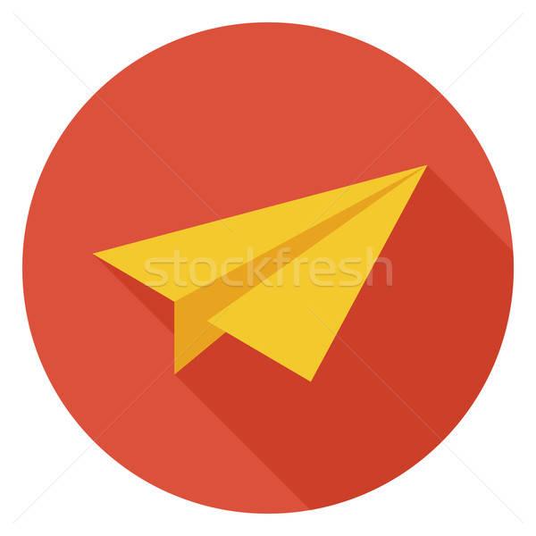 Freelance papier vliegtuig cirkel icon lang Stockfoto © Anna_leni