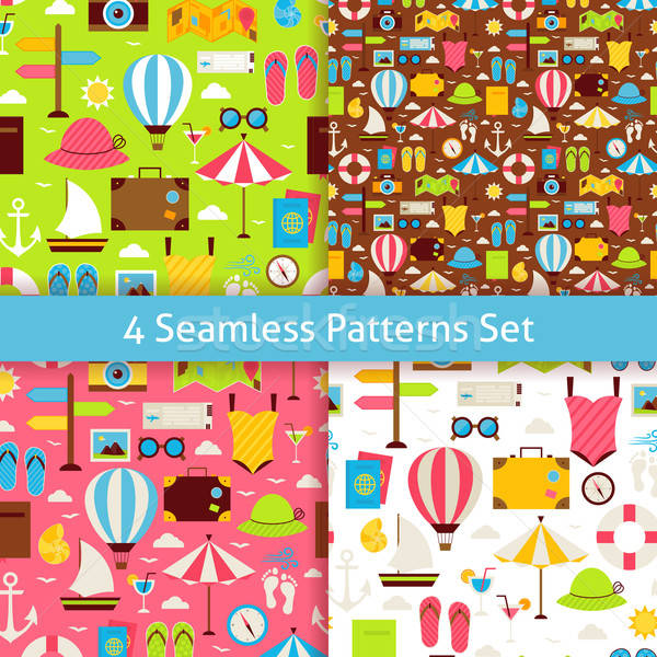 Four Vector Flat Summer Holidays and Travel Vacation Patterns Se Stock photo © Anna_leni