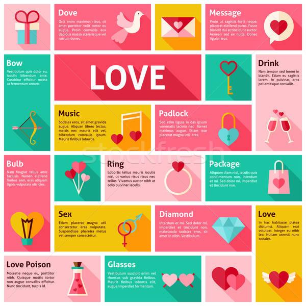 Flat Design Vector Icons Infographic Love Concept Stock photo © Anna_leni