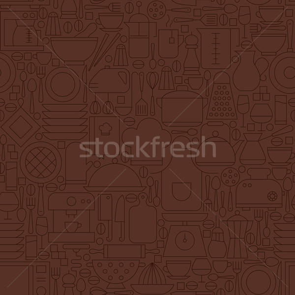 Thin Line Brown Kitchenware and Cooking Seamless Pattern Stock photo © Anna_leni