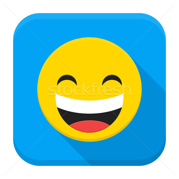 Laugh Yellow Smiley Face Flat App Icon Stock photo © Anna_leni