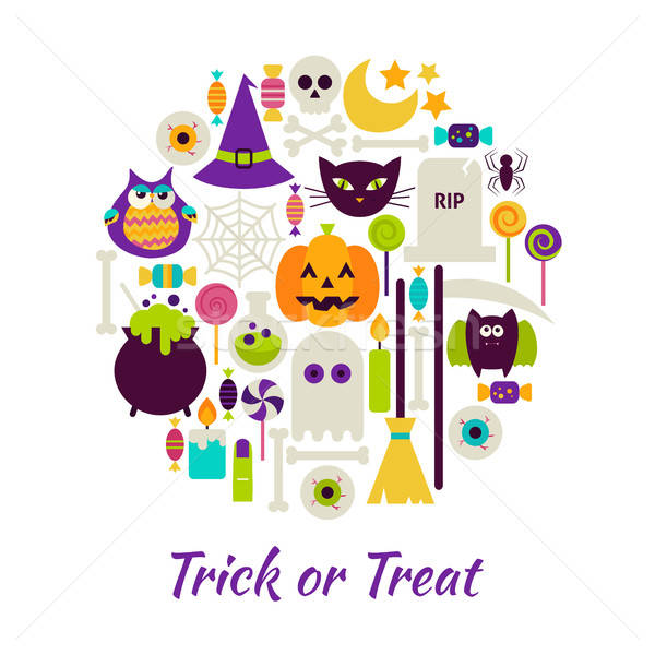 Trick or Treat Objects over White Stock photo © Anna_leni