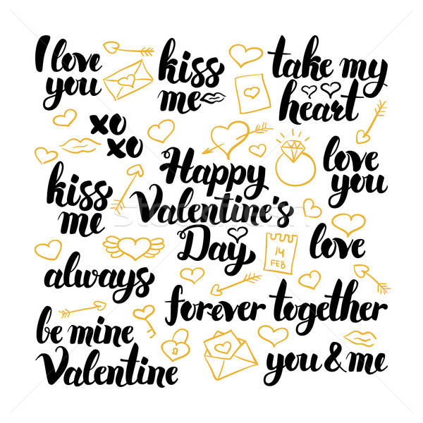 Valentine Day Hand Drawn Lettering Stock photo © Anna_leni
