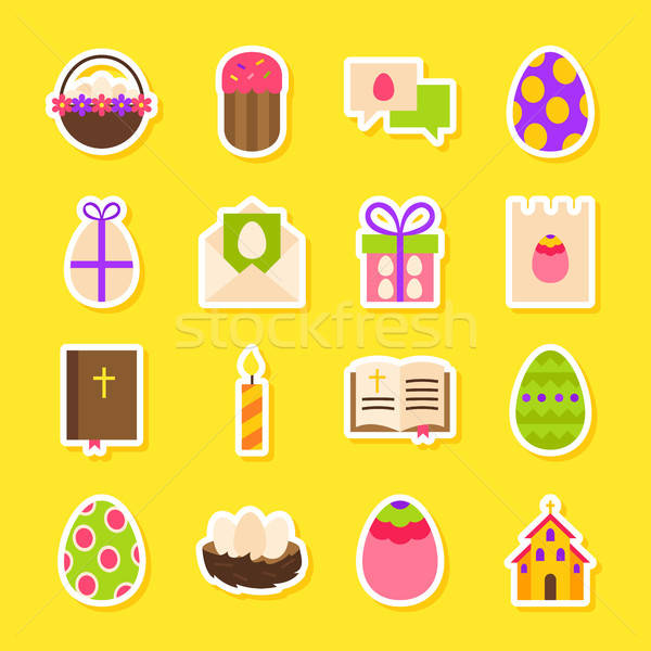 Happy Easter Holiday Stickers Stock photo © Anna_leni