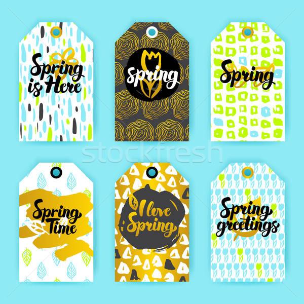 Tavasz trendi hipszter ajándék címkék 80-as évek Stock fotó © Anna_leni