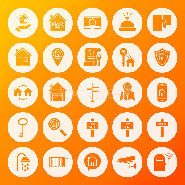 House Solid Circle Icons Stock photo © Anna_leni