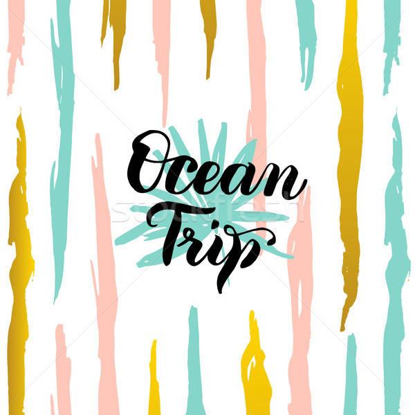 óceán utazás kártya nyár trendi képeslap Stock fotó © Anna_leni