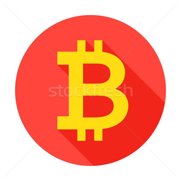 Bitcoin círculo ícone estilo longo sombra Foto stock © Anna_leni