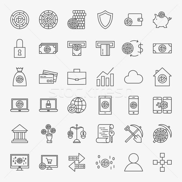 Stock photo: Cryptocurrency Line Icons Set
