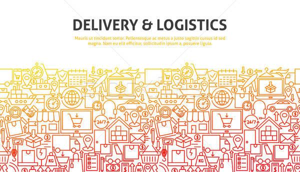 Consegna logistica line progettazione di siti web banner modello Foto d'archivio © Anna_leni