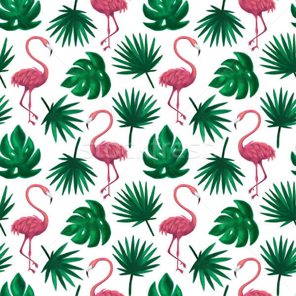 Flamingo Tropical Leaf Seamless Pattern Stock photo © Anna_leni