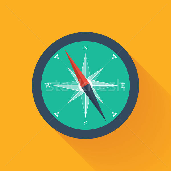 Green compass circle icon Stock photo © Anna_leni