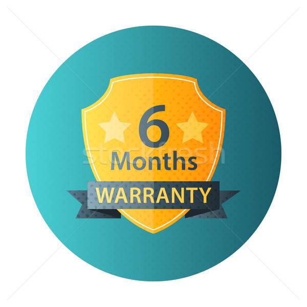 Seis meses garantia círculo ícone meio-tom Foto stock © Anna_leni