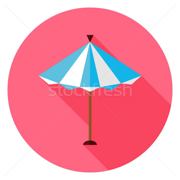 Flat Summer Sun Parasol Circle Icon with Long Shadow Stock photo © Anna_leni