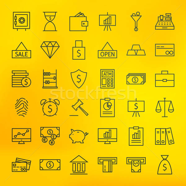 Bank Banking and Finance Business Line Big Icons Set Stock photo © Anna_leni