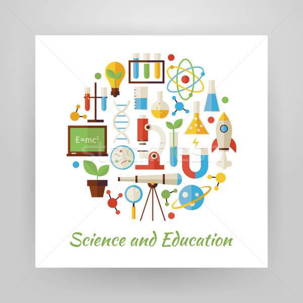 Stijl cirkel vector ingesteld wetenschap onderwijs Stockfoto © Anna_leni