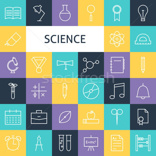 Vector Flat Line Art Modern Science Education and School Icons S Stock photo © Anna_leni