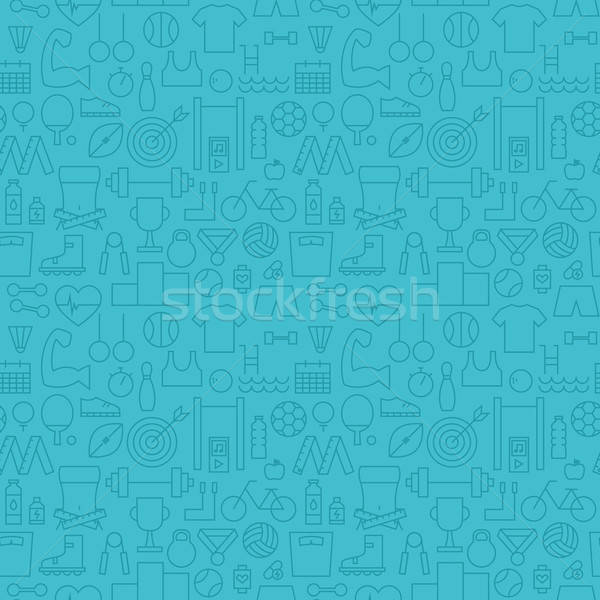 Thin Healthy Lifestyle Line Fitness Dieting Blue Seamless Patter Stock photo © Anna_leni