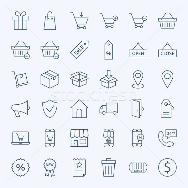 Line Shopping and E-commerce Icons Set Stock photo © Anna_leni