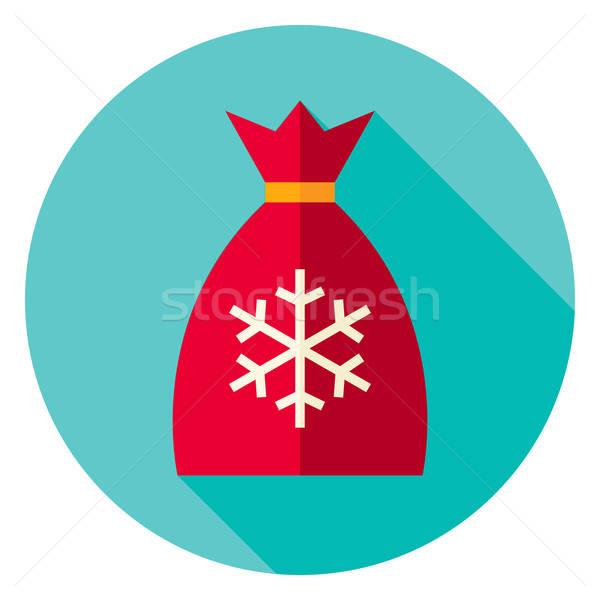 Flat Design Christmas Santa Bag Circle Icon Stock photo © Anna_leni