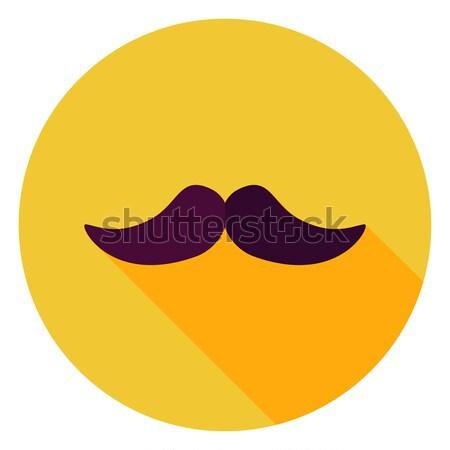 Design moustache cercle icône longtemps ombre Photo stock © Anna_leni