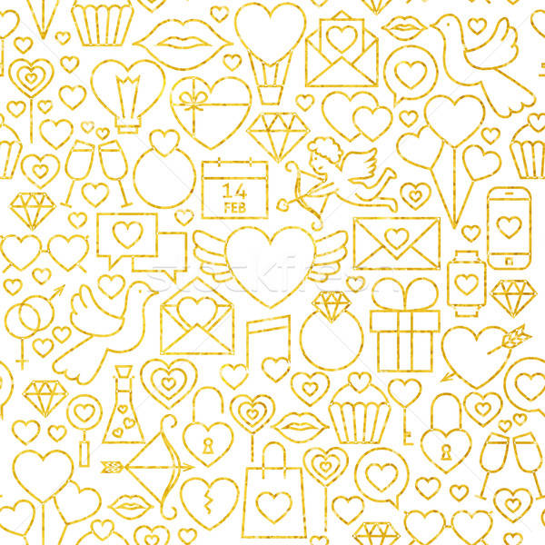Stock photo: Thin Line Gold Valentine`s Day Seamless Pattern