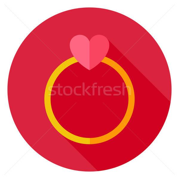 Ehering Herz Kreis Symbol Design lange Stock foto © Anna_leni