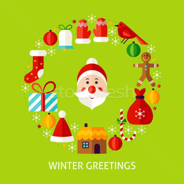 Winter briefkaart poster ontwerp ingesteld Stockfoto © Anna_leni