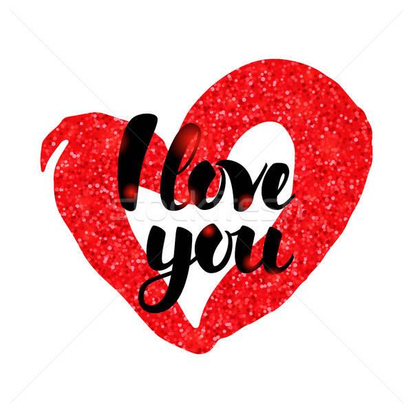 Szeretet piros kézzel írott felirat valentin nap üdvözlet Stock fotó © Anna_leni
