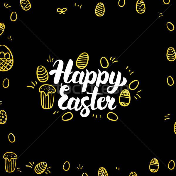 Happy Easter Gold Black Postcard Stock photo © Anna_leni