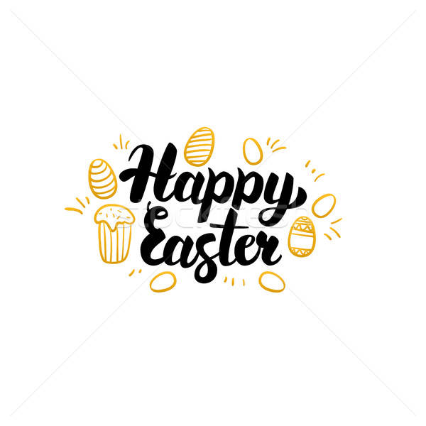 Happy Easter Gold Greeting Card Stock photo © Anna_leni