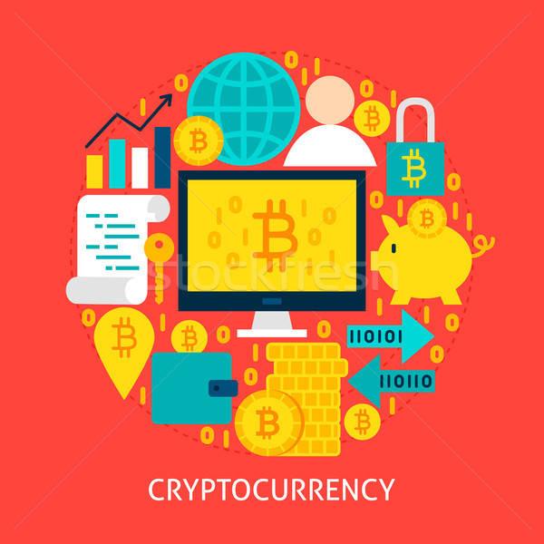 Stock fotó: Poszter · terv · szett · bitcoin · tárgyak · üzlet