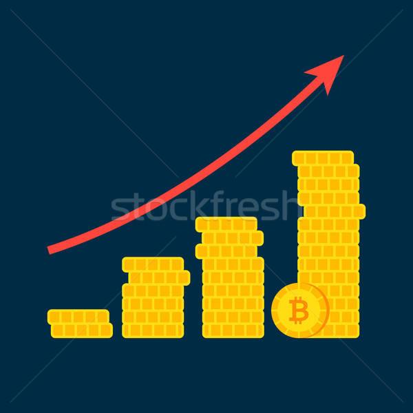 Bitcoin büyüme grafik finansal diyagram bilgisayar Stok fotoğraf © Anna_leni