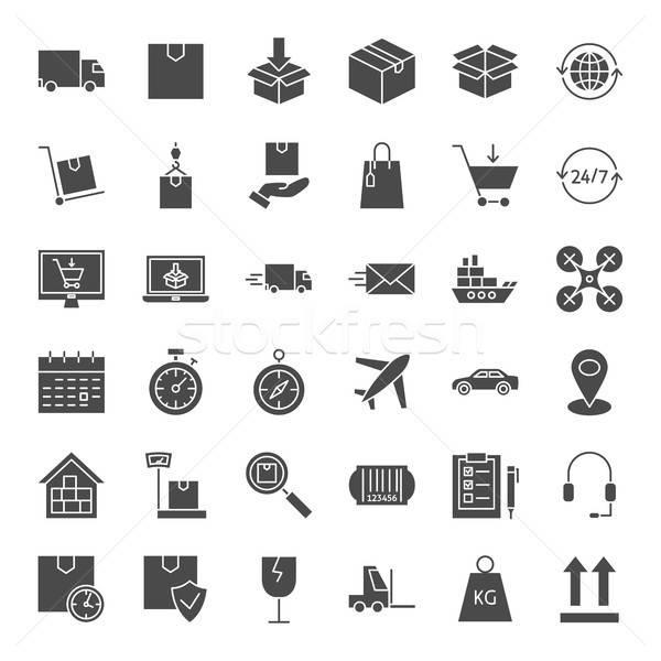 Entrega sólido iconos de la web vector establecer logística Foto stock © Anna_leni