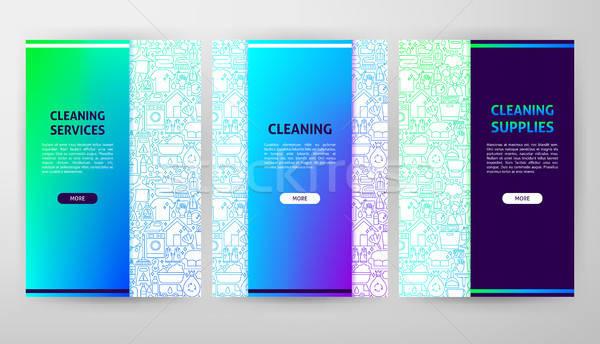 Nettoyage brochure web design bannière travaux Photo stock © Anna_leni