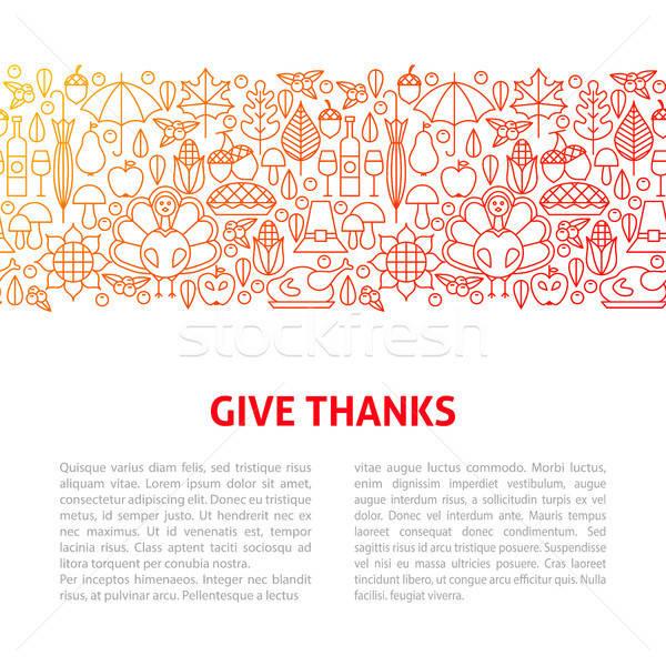 Dar gracias línea plantilla de diseño banner Foto stock © Anna_leni